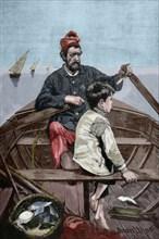 Joan LLimona i Bruguera (1860-1926). Spanish painter. Engraving. Colored.