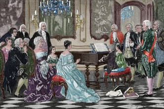 Maria Anna and Wolfgang Amadeus playing before the Empress Maria Theresa.