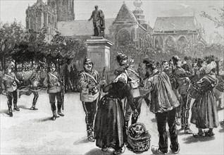 English troops at Verte Square, Antwerp.