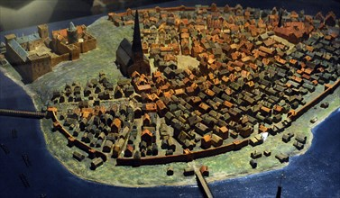 Model of the city of Stockholm in the late Middle Ages. Scale 1:500.