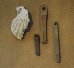 Rune pins, wooden amulets.
