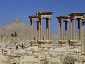 Platform with columns. Roman monument.