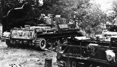 WWII. Western Front. Normandy. June, 1944. Anglo-American tanks destroyed.