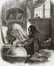 Astronomer. Modern Age.15th century. Engraving, 19th century.