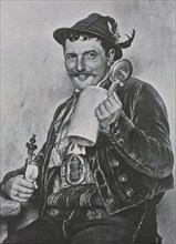 Bavarian man wearing traditional dress and holding a beer mug and a pipe