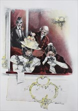 four people in the lodge of an opera