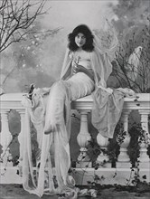 beautiful woman with veil sits on a balustrade on the terrace