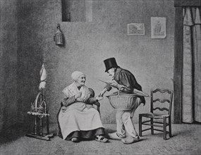 old woman offers her husband a pinch of snuff