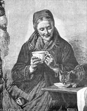 Old woman has poured some milk into the saucer for the domestic cat  /  Alte Frau hat für die Hauskatze etwas Milch in die Untertasse gegossen