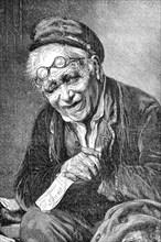 old man with a lottery ticket  /  alter Mann mit einem Lotterieschein