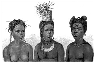 Women and men from the African tribe of the Niam-Niams