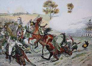 The Prussian Grenadier Battalion Prince August defends itself near the city of Prenzlau