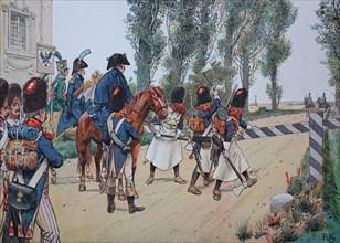 the troops of Napoleon I. in october 1805 under general Kellermann passed near sickershausen the prussian area  /  Die Truppen von Napoleon I. im Oktober 1805 unter General Kellermann passierten in de...