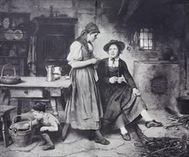 Two friends are chatting in the kitchen while a boy lets a hen out of the basket  /  Zwei Freundinnen unterhalten sich in der Küche während ein Junge eine Henne aus dem Korb heraus läßt