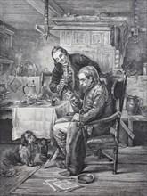 Elderly man takes medicine with a spoon  /  Älterer Mann nimmt Medizin mit einem Löffel