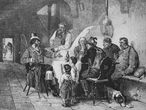 a dressed-up attire talks to the people in a restaurant  /  Menschen in alpenländischer Tracht in einem Restaurant