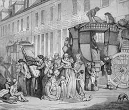 Arrival of a stagecoach at the station on Louvre