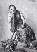 Farmer's wife sitting on a chair after a celebration