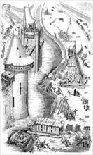 Siege of a fortified city in the 12th century
