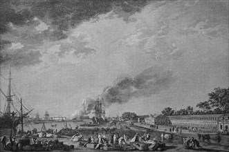 The port of Rochefort with the magazine for the colonies