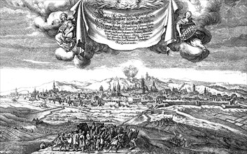 The bombardment of Prague by the Swedes under Count Palatine Karl Gustav and the Count Königsmark