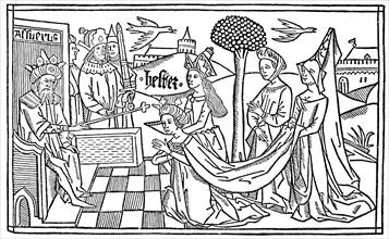 Esther kneels before Asverus
