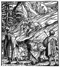 From the Theuerdank: On the advice of a Unfalo Baier 1517 brings the horse from Theuerdank to dangerous place to be shy