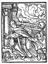 Death and the monk from Hans Holbein Dance of Death