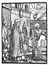Death as an artist before the Blessed Sacrament from Hans Holbein Dance of Death
