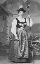 Woman from Bavaria in costume robe with Charivari jewelry chain