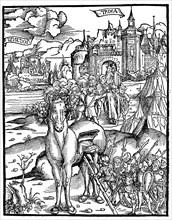 The Trojan horse. The Greeks get into the wooden horse at the siege of Troy  /  Das trojanische Pferd. Die Griechen steigen in das hoelzerne Pferd bei der Belagerung von Troja