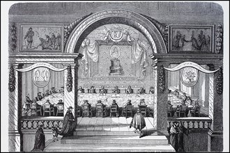 A meeting of the French Academy under Louis XIV.
