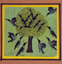 A Tree with Crows Perched in its Branches, with Others Flying Around It.  Rajasthan, India, c.1850