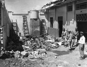 Victimes d'une explosion accidentelle de dynamite dans la ville de Cali, en Colombie (1956)
